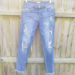 Distressed Skinny Jeans Frayed Hem Size 29
